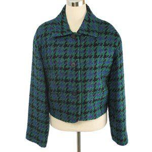 THEO MILES Green & Black Wool Houndstooth Blazer